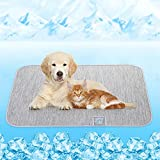 Dog Cooling Mat, Rywell Self Cooling Pads for Dogs & Cats, Arc-Chill Reusable Summer Pet Ice Cool Bed for Puppies, Super Absorption, Machine Washable & Portable, Home & Travel - S (18×24'') - Gray