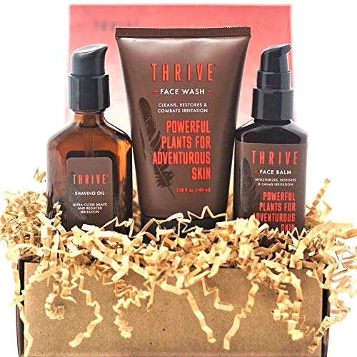 Thrive Natural Men's Skin Care Set – 3 Piece Grooming Gift Set to Wash, Shave, and Moisturize Daily; Gift for Men Made in USA with Organic & Unique Premium Natural Ingredients