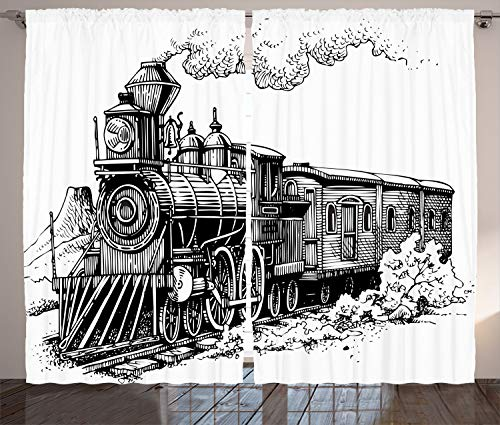 """Ambesonne Steam Engine Curtains, Rustic Old Train in Country Locomotive Wooden Wagons Rail Road Smoke, Living Room Bedroom Window Drapes 2 Panel Set, 108"""" X 84"""", Black and White"""