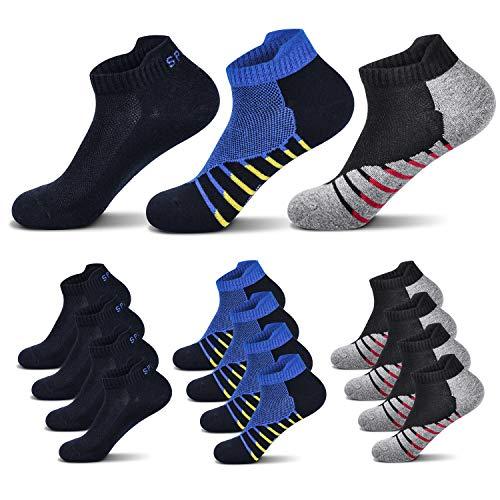 Fullluwaa 6/12 Paar Sneaker Socken Herren Damen Kurze Halbsocken Sportsocken Männer Baumwolle(Schwarz x4/Rot x4/Blau x4, 43-46)