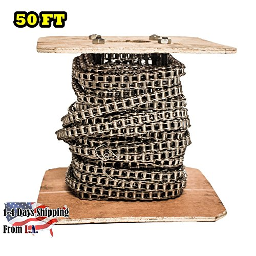 40 SS Stainless Steel Roller Chain 50 Feet with 5 Connecting Links