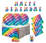 Tie Dye Birthday Party Supplies Set - Tablecloth, Large Plates, Napkins, Banner Decoration and Candles (Deluxe + Banner - Serves 16)