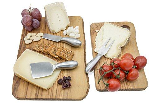 TruffleToastHome調理やプレゼンテーション用のカッティングボード2枚セット-高級な天然オリーブ材を使用したイタリア製まな板-キッチン、テーブルで使用したり、パーティーの料理の提供時に大活躍します。