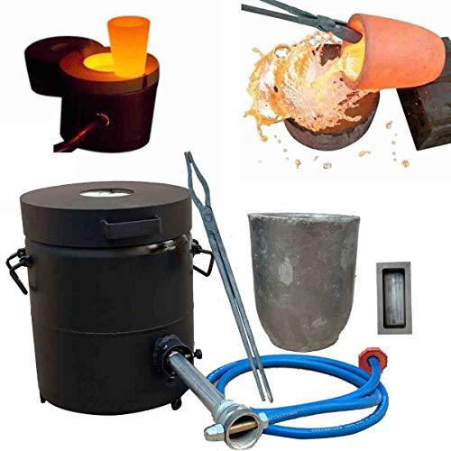 TABODD Juego de estufa de gas forjado de 6 kg, 1300 °C /2372°F automático de fusión de gas con cono de grafito y pinzas para metal, cobre, oro, aluminio y zinc