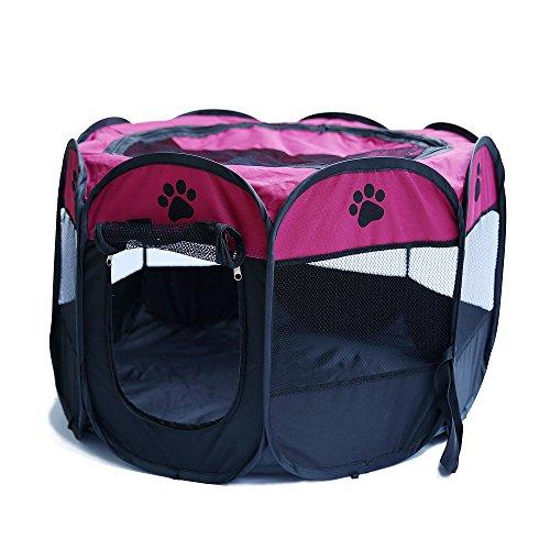 Tineer Portable Pet Cat Cage pour Chien Niche Chenil Tente Lit Parc d enfant Camping de Plein air Pliable Maison de Caisse de Chien de Voyage Playpen (Medium: 90×90×60cm, Rose)