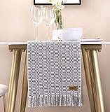 UKOBÁN Deko Tischläufer grau weiß/Wohnzimmer Dekoration/Boho Retro Tischdecke Tischset/Schlafzimmer Küche / 30x150 cm