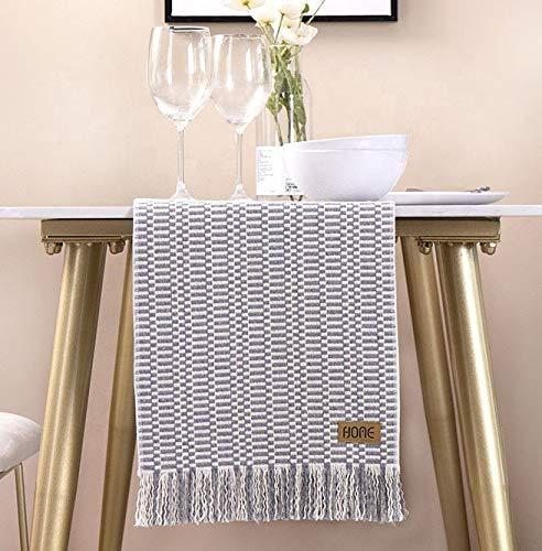 UKOBÁN Deko Tischläufer grau weiß / Wohnzimmer Dekoration / boho retro Tischdecke Tischset / Schlafzimmer Küche / 30x150 cm