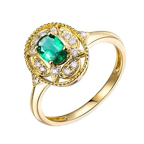AnazoZ Anillos Mujer Plata Esmeralda,Anillo Mujer Oro Amarillo 18 Kilates Oro Verde Oval Esmeralda Verde 0.5ct Diamante 0.12ct Talla 20