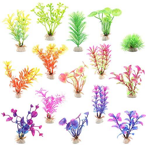 Huayue 15 Stück künstliche Wasserpflanzen, Mini Aquariumpflanze Fisch Tank Dekoration künstliche Aquarium Dekoration Aquarium Landschaft Deko Plastikpflanzen für Aquarien (Zufällige Farbe)