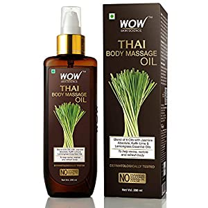WOW Skin Science Thai Body Massage Oil for Reviving and Refreshing Body - infused with blend of 6 Oils with Jasmine Absolute, Kaffir Lime & Lemongrass Essential Oils - for All Skin Types - No Parabens, Silicones, Mineral Oil & Color- 200mL
