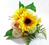 Ooki Beautiful Sunflower Bouquet Pink Blush Roses Bridal Handmade Wedding Hand Toss Artificial Silk Flower Bridesmaid Boutonniere Floral