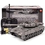 BXQQ 1/24 RC Tank Toys, Battle Tank RC Airsoft Panzer, 2.4Ghz Remote Control Military Vehicle Combat Fight (Color : Silver)