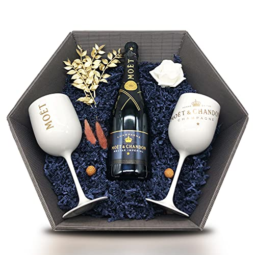 Moët & Chandon Nectar Impérial Champagner Geschenkset 12% 0,75l inkl. 2 Champagne Kelche Weiß & künstlerischer Dekoration