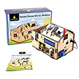KEYESTUDIO Smart Home Starter Kit for Arduino UNO, Electronics Home Automation Coding Kit, Wooden House Learner DIY Kit STEM Education for Kids Adults Teens
