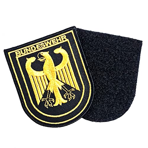 Deutschland Adler Gold Bundeswehr Patch bestickt Großer Aufnäher ca. 9cm x 6,5cm mit Flauschseite 2tlg