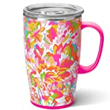 Swig Life 18oz Travel Mug with Handle and Lid, Stainless Steel, Dishwasher Safe, Cup Holder Friendly, Triple Insulated Coffee Mug Tumbler in Hawaiian Punch Tropical Print