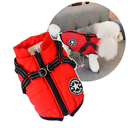 Abrigo acolchado para mascotas para perros, para invierno, resistente al viento, impermeable, abrigo para clima frío, abrigo para cachorro, chaqueta cálida de invierno, chaleco para perro pequeño
