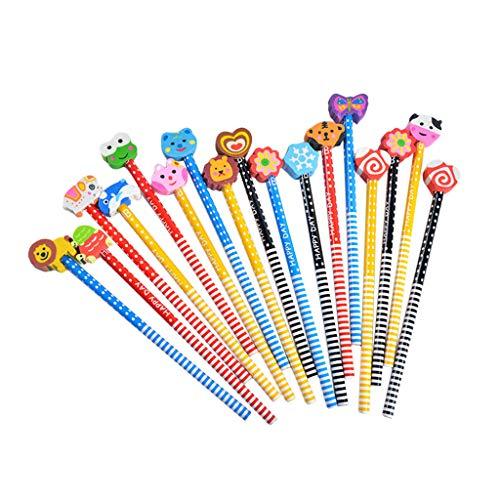 FBGood 30 Stück Bleistift Set mit Karikatur Gummikopf, Schüler Schreiben Bleistift Zeichenstift Künstlerskizze Stifte Malwerkzeug Geschenk für Kinder Erwachsene