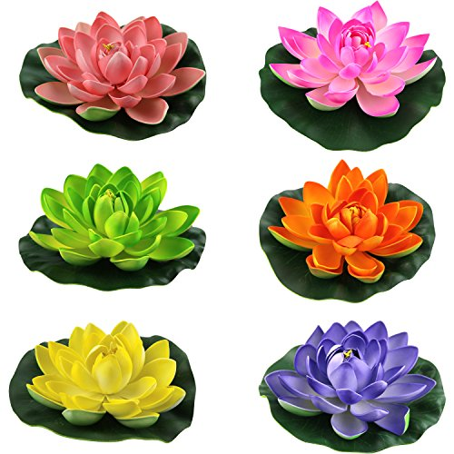 Lightingsky Artificial Floating Foam Lotus Flower Pond Decor Water Lily (6 Colors-2, Medium-18cm)