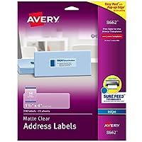 Avery マットつや消しクリアアドレスラベル インクジェットプリンター用 1,750 Labels