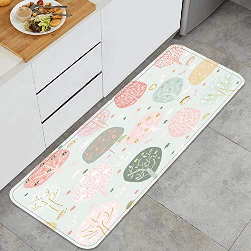 ZHIMI Multiuso Tappeti Cucina,Sfondo Trasparente Stilizzato Foresta di Alberi Luminosi,Antiscivolo Tappeti per Cucina Lavabile Tappeti Bagno Zerbino Tappeto 45 x 120cm