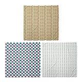 ABAKUHAUS Pack de 3 Bandanas Unisex, Retro abstracto Arte cepillado a cuadros Square Plain Rondas, Multicolor