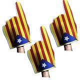 FUN FAN LINE - Pack x3 Manos Gigantes de Espuma Catalunya. Diseño Independencia, estelada Azul. Impresión Doble Cara, Uso Exterior. La Bandera catalana independentista la diada.