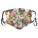 Fashion Wiederverwendbare waschbare atmungsaktive Gesichtsbedeckung, Unisex, für Motorrad, Fahrrad, Laufen und Outdoor-Sport, mit Filter, Schmetterlinge und Rosen, Baumwollstoff