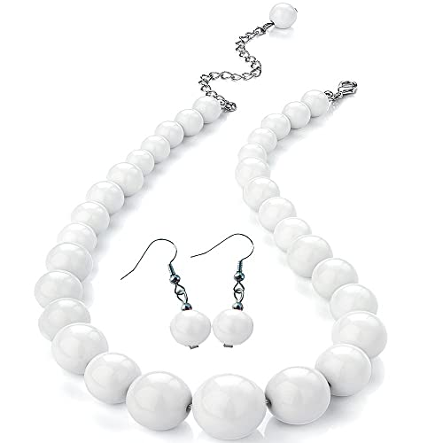 Silver colour large ball bead stud earrings and choker necklace jewellery set