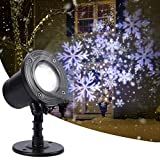 LUNSY Christmas Projector Lights, LED Snowstorm Snowflake Light Projector, Rotating Waterproof Snowfall Projector for Holiday Party Garden Landscape Indoor Outdoor Decor(White/Blue)
