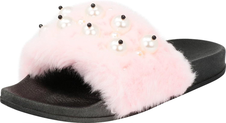 CAPE ROBBIN Moira-12 Women Flip Flop Faux Fur Pearl Slide Slip On Flat Sandal shoes Slipper Black