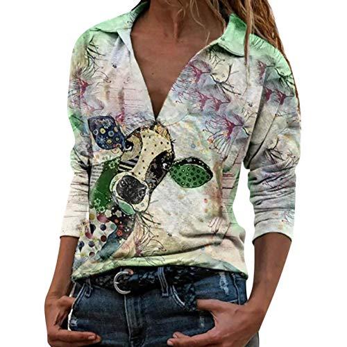 Camiseta de señora Bull Head Animal Print Casual Tops de manga larga para mujer Camiseta de señora Bull