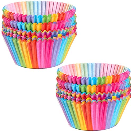 KEKU Rainbow Cupcake Paper, Cupcake Box, Cake Cup, Suitable for Wedding Party Birthday, 200 Cups