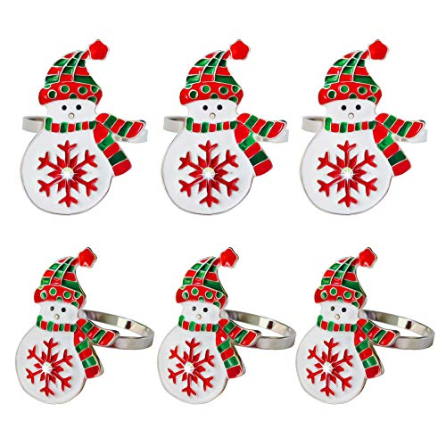 Kalopro Christmas Snowman Napkin Rings Set of 6, Napkin Buckles, Napkin Rings Holder for Xmas, Thanksgiving, Dinner Party Table Decoration (Snowman-Silver)