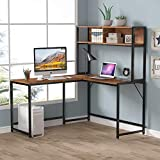 LITTLE TREE 55 Inches L-Shaped Desk with Hutch Bookshelf, Corner Computer Desk for Home Office, Gaming Table Workstation with Storage Bookshelves, Space Saving Designs (Vintage)