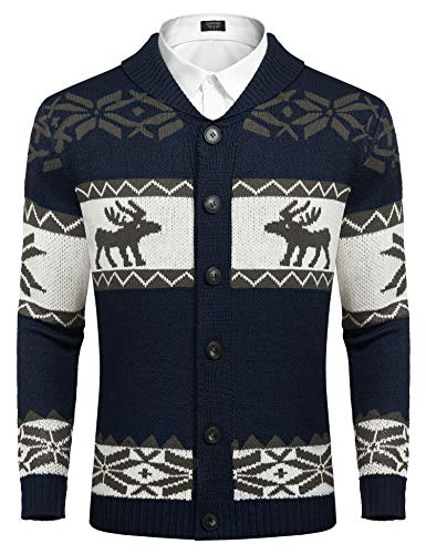 COOFANDY Mens Casual Shawl Collar Knitted Cardigan Reindeer Snowflake Pattern Button Down Knitwear (Navy Blue L)