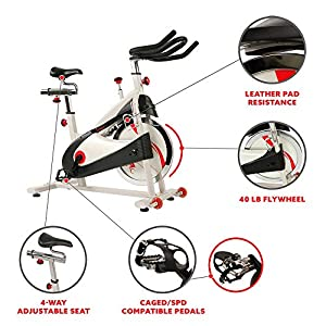 Sunny Health & Fitness Indoor Cycling Exercise Bike with SPD pedals - SF-B1509, White, 47 L x 20 W x 47 5 H