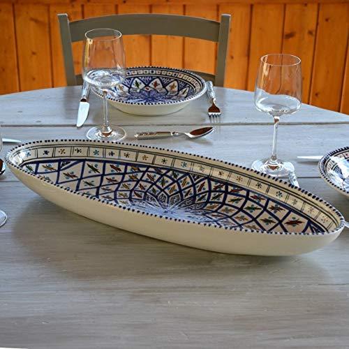Plat ovale Bakir bleu - L 53 cm