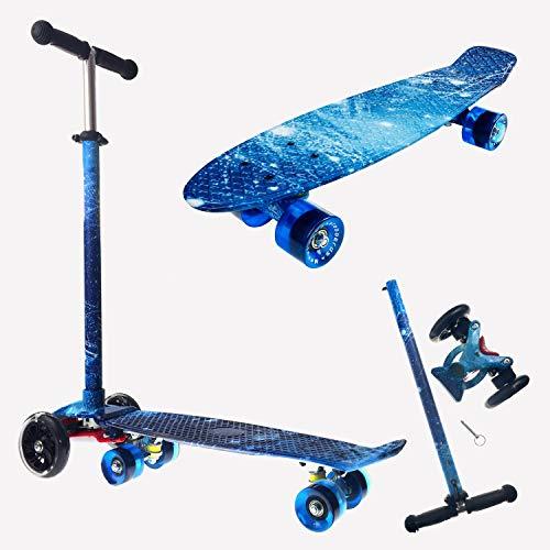 Stunt Scooter Patinete para Niños 2 En 1, Peso Máximo del Usuario 100 Kg para Mini Patineta Retro para Niños, Niñas, Adolescentes, Adultos, Principiantes