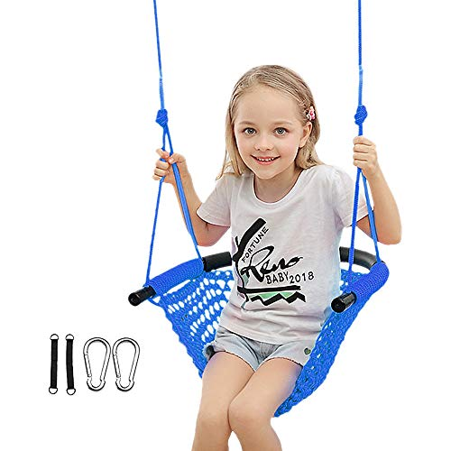 PDJW Kids Swing, Children Swing Set with Adjustable Ropes Hand-Knitting Rope Swing Sets for Backyard, Indoor, Room, Outdoors, Playground, Tree, 440 lbs Capacity (Blue)