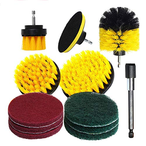 N \ A 12pack Drill Brush Power Scrubber Cleaning Brush Extended Long Attachment Set Electric Drill Cleaning Brush Head Accessories for Kitchen and Bathroom Surfaces Tub