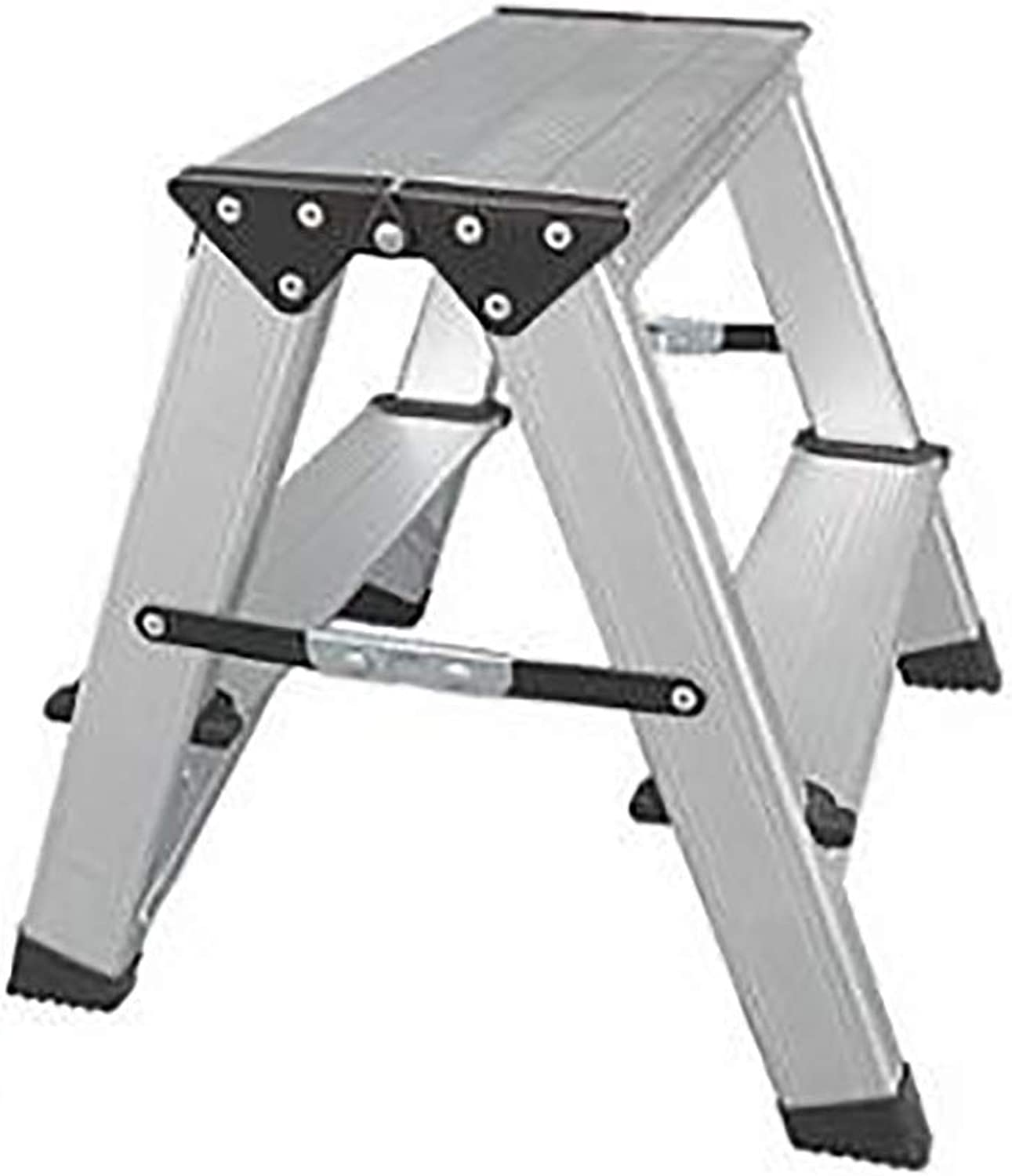 Household Folding Step Stool Thick Aluminum Alloy Two-Step Three-Step Dual-use Small Ladder Chair (Size   37  22  37cm)