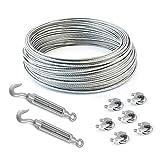 COJUNTO 100m cuerda de alambre galvanizado 3mm hebra: 6x7 + 6 abrazaderas + 2 tensores ojetes/gancho