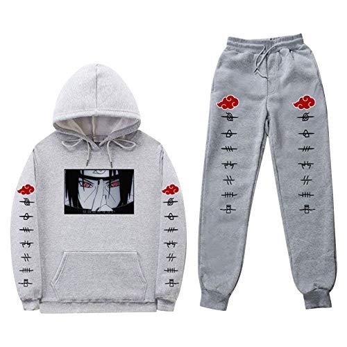 Conjunto de moletom e calça masculina Naruto Anime Sportswear Naruto Moletom com capuz e calça de moletom Manga Jogger Calça Unissex Duas Peças (Cinza 70, M)