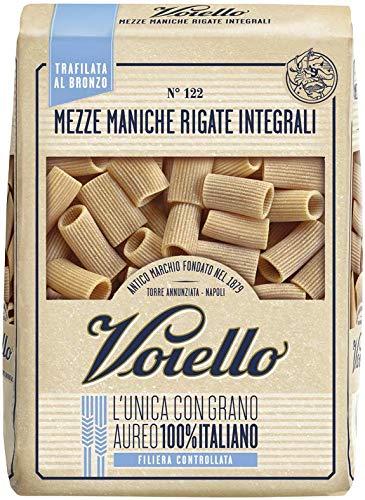 Voiello Pasta Mezze Maniche Rigate Integrali N.122, Pasta Corta di Semola Grano Aureo 100%, 500 g