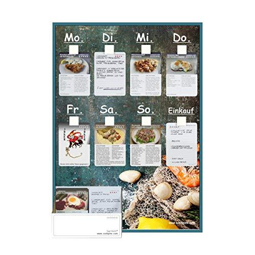 Rogge´s RelaxGrill CookPins D1 Essensplaner mit 105 Rezeptkarten, wandhängend, Speiseplan, Menütafel, Essensplan, Rezeptkarten, Kochrezepte, Rezepttafel, Kochtafel, Kochbuch, Dekoration Küche