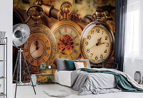 Vintage Taschen Uhr - Wallsticker Warehouse - Fototapete - Tapete - Fotomural - Mural Wandbild - (1519WM) - L - 152.5cm x 104cm - VLIES (EasyInstall) - 1 Piece