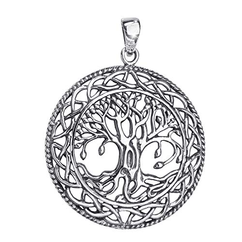 MATERIA 925 Silber Anhänger Lebensbaum antik - Keltischer Schmuck Anhänger Baum des Lebens #KA-96