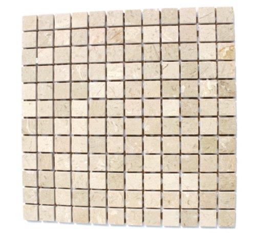 Crema de mármol pulido de suelo de la pared de piedra natural marfil mosaico - 1 estera