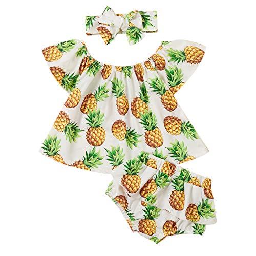 jerferr Kleinkind Baby Mädchen Sommer Ananas aus Schulter Tops PP Hose Kurze Hose Set Kleider